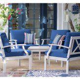 Belham Living Brighton Beach Wood 5 Piece Deep Seating Conversation Set Furniture Care, Quality Furniture, Furniture Decor, Outdoor Furniture Sets, Furniture Design, Nautical Furniture, Beach Wood, Blue Cushions, Club Chairs