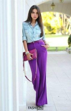 Сиреневая юбка, джинсовая рубашка
