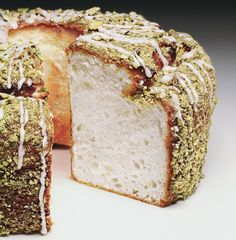 Lime Angel Food Cake with Lime Glaze and Pistachios from Bon Appetit