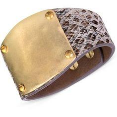 20923dec71b9 The Sak Gold-Tone and Python-Like Leather Wrap Bracelet Jewelry   Watches -  Fashion Jewelry - Macy s