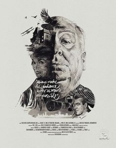 Alfred Hitchcock artwork featuring elements from several of his films.