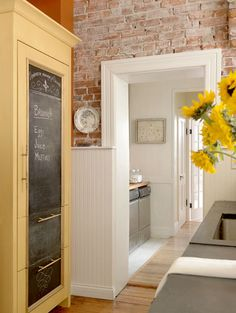 brooksBerry Inspirations- exposed brick, bead board and awesome custom refrigerator front!
