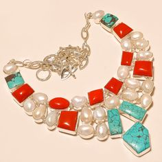 """.925 Silver Santa Rosa Turquoise & Red Coral With Fresh Pearl Nice Necklace 18"""" #Handmade"""