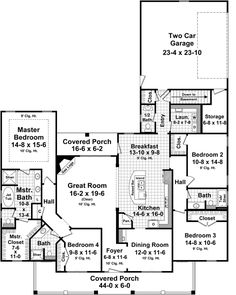 First Floor Plan of Country   Farmhouse  Traditional   House Plan 59955
