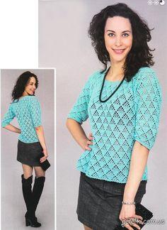 Ажурный пуловер с короткими рукавами крючком. Описание, схемы