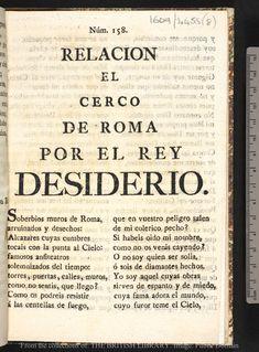 Relacion : El cerco de Roma por el rey Desiderio.