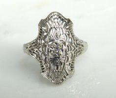 Antique 14K White Gold & Diamond Spiderweb Filigree Art Deco Dinner Ring