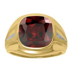 Diamond and Red Garnet Men's Large Ring In Yellow Gold Father's Day 2015 Unique Jewelry Gift Presents and Ideas. Gemologica.com offers a large selection of rings, bracelets, necklaces, pendants and earrings crafted in 10K, 14K and 18K yellow, rose and white gold and sterling silver for that special dad. Our complete collection and sale of personalized and custom gifts for dad: www.gemologica.com/mens-jewelry-c-28.html