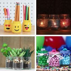 To repurpose baby food jars diy videos, diy gifts videos, craft videos Baby Jars, Baby Food Jars, Food Baby, Baby Bottles, Baby Food Jar Crafts, Mason Jar Crafts, Mason Jars, Plate Crafts, Glass Jars