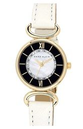 Anne Klein Crystal Dial Leather Strap Watch, 26mm