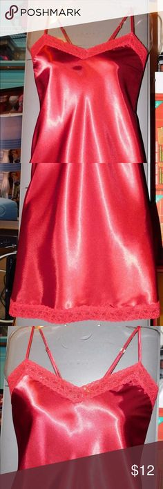 Valerie Stevens Chemise Size Small This chemise has adjustable spaghetti straps, lace V bustline, back and hem.  Size small: bust 32-34, waist 25-27, hips 34-36, equivalent dress size 2-6. Pre-owned in very good condition. Color red. 100% polyester. Item #281716 Valerie Stevens Intimates & Sleepwear Chemises & Slips