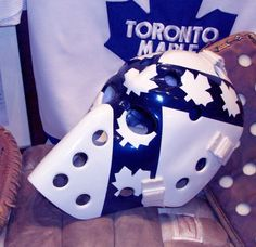 tom connauton vintage goalie masks Hockey Helmet, Hockey Goalie, Goalie Mask, Sports Uniforms, Masked Man, Hockey Stuff, Toronto Maple Leafs, Helmets, Nhl