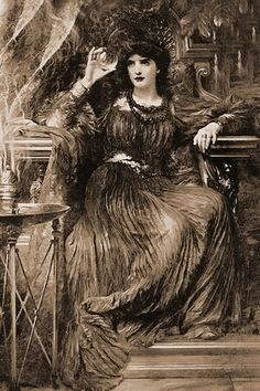 Gothic Art Print THE FORTUNE TELLER with Crystal Ball Psychic Gypsy