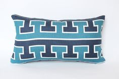 Scumacher Studio Bon Greek T Lumbar Pillow Cover with Blue Velvet Backing on Etsy, $100.00
