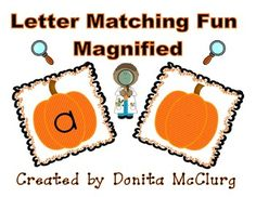 This product gives you one page for all 26 letters of the alphabet, and a directions sheet for the teacher.  On each page there are 4 pumpkin cards that will make two letter matches (one uppercase letter match & one lowercase letter match).  HERE'S THE FUN PART - on one of the pumpkins the letter is so tiny students will need to use a magnifying glass in order to see the letter & then match it to the same letter (but only larger in size).