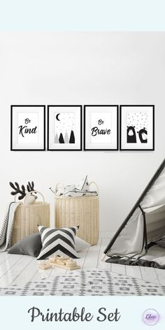 Woodland printable set of 4 for kids room. Great monochrome art for kids and nursery room, set of mountains, cute bears, be kind and be brave. #printable # scandal #zoharlilac