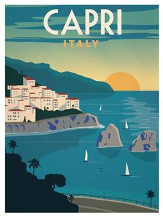 Capri Italy Vintage Painting Travel Art Silk Cloth Poster Home Wall Decor - engagement ring sizes, engagement rings styles chart, old engagement rings, square ring engagement, - Retro Poster, Art Deco Posters, Vintage Travel Posters, Vintage Italian Posters, Vintage Postcards, Pub Vintage, Photo Vintage, Vintage Kitchen, Vintage Air