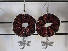 439184b9a88d Orecchini realizzati cialde del caffè in alluminio con applicazioni di  pendente libellula