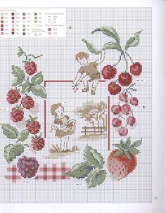 0 point de croix grille et couleurs de fils  enfants, petite fille et garçon ramassant des fruits fraises cerises