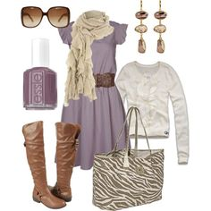 Cream, lavender and brown tones
