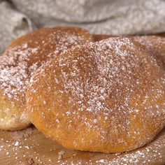 These Doughboys aka Fried Dough are delicious small pieces of dough fried and then coated in sugar. Enjoy them as an after-school snack or breakfast treat. Fried Dough Recipes, Fried Bread Recipe, Snack Recipes, Snacks, Bread Recipes, Cake Recipes, Vegan Recipes, Fried Biscuits, Recipes