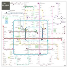 Hang this beautiful poster on your wall. Click on the picture to buy. #square #Beijing #subway #map by Jug Cerovic #poster [affiliate-link]