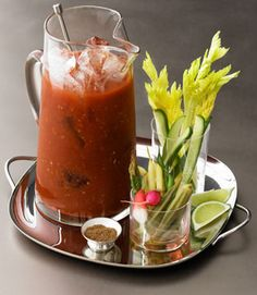 Nothing i like better than a grwat bloody mary! grey goose bloody mary pitcher with garnish options Bloody Mary Recipe Pitcher, Bloody Mary Recipes, Bloody Mary Recipe With Zing Zang, Bernard Shaw, Fun Drinks, Yummy Drinks, Alcoholic Drinks, Fun Cocktails, Party Drinks
