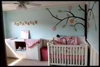 Love the idea of the Tree Mural. Small Baby Nursery, Girl Nursery, Nursery Room, Nursery Decor, Baby Bedroom, Baby Rooms, Kids Rooms, Minimalist Baby, Nursery Inspiration