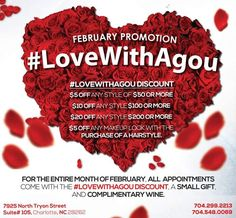Good morning!☀️ We hope each and every one of you are STILL feeling the love! Why stop after the 14th? #AgouHairBoutique still has plenty of love to give all month long for #LoveWithAgou ❤️! Call or text 704-299-2213 for appointments!