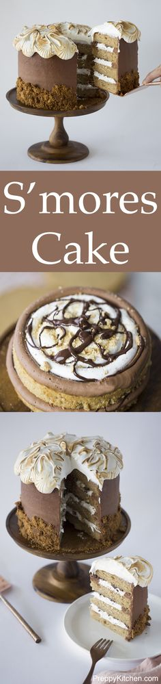 A new take on classic s'mores in cake form! via /preppykitchen/ A new take on classic s'mores in cake form! via /preppykitchen/ Cupcake Recipes, Baking Recipes, Cupcake Cakes, Cupcakes, Dessert Recipes, Easy Desserts, Delicious Desserts, Smores Cake, Homemade Cakes