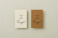 laji hair & make logotype and uncoated and unbleached paper business cards designed by uma.