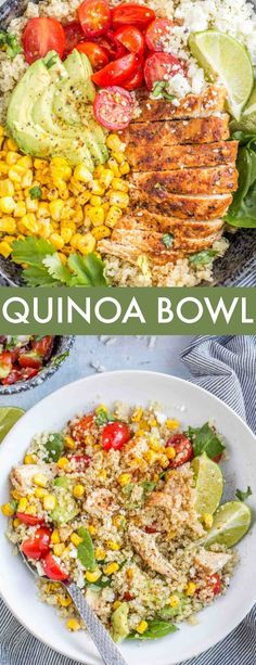 This Chicken Quinoa Bowl is the perfect recipe for a healthy lunch or dinner. Sauteed juicy chicken on a bed of fluffy quinoa topped with sauteed butter corn, spinach, feta and tomatoes then drizzled Chicken Quinoa Bowl Recipe, Quinoa Recipes Easy, Quinoa Salad Recipes, Chicken Recipes For Lunch, Quinoa Dinner Recipes, Quinoa Meals, Chicken Quinoa Salad, Quinoa Dishes, Healthy Recipes