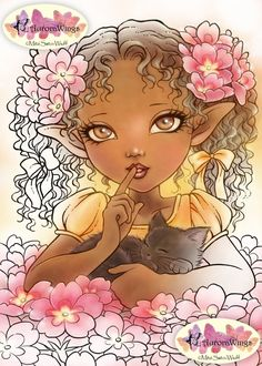 Digital Stamp - Primrose Elf - Big Eye Girl with a Kitten - Instant Download - Fantasy Line Art for Cards & Crafts by Mitzi Sato-Wiuff