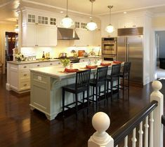Start with these kitchen island design ideas first! See what design experts think are the best kitchen island ideas. Plus kitchen design photos and more! Kitchen Layouts With Island, Modern Kitchen Island, Kitchen Island With Seating, Cozy Kitchen, Modern Kitchen Design, New Kitchen, Kitchen Decor, Kitchen Islands, Kitchen Ideas