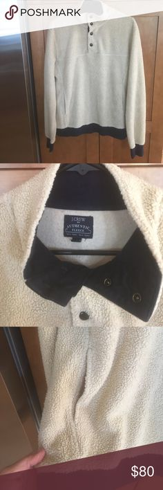 Men's J Crew authentic fleece pullover. My son loved this! Very stylish, the picture doesn't do it justice. The bottom and sleeves are ribbed, but the pullover has just enough fit to it! Machine wash and tumble dry. J. Crew Shirts Sweatshirts & Hoodies