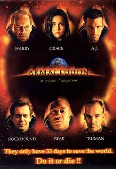 Armageddon is a 1998 American disaster film, directed by Michael Bay, produced by Jerry Bruckheimer and released by Disney's Touchstone Pictures. The film follows a group of blue-collar deep-core drillers sent by NASA to stop a gigantic asteroid on a collision course with Earth.