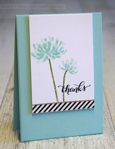 Stampin' Up! hand crafted card by Teneale Williams . clean and simple look . luv the look of black and white striped paper with pale blue . Handmade Thank You Cards, Greeting Cards Handmade, Simple Handmade Cards, Cute Thank You Cards, Handmade Ideas, Washi Tape Cards, 2 Kind, Karten Diy, Thanks Card