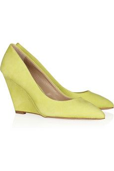 Nubuck leather wedge pumps | NEON!