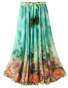 63c32bd6e0f09 Ashir Aley Flowy Long Boho Floral High Waisted Full Length Chiffon Lovely Maxi  Skirt at Amazon Women's Clothing store: