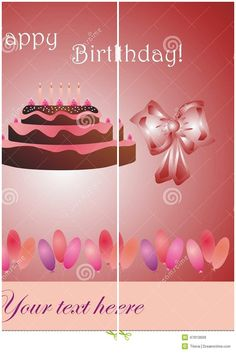 #Vector #illustration #Birthday #card with #cake, bow and #balloons on #dreamstime