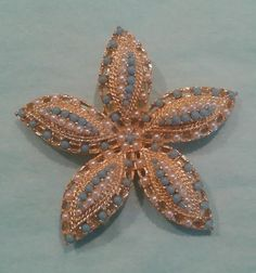 """Vintage Sarah Coventry Brooch """"Ocean Star"""" Gold tone, White and Turquoise pearls."""