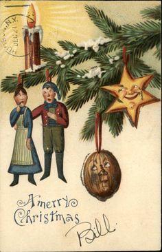 Christmas Tree Ornaments Funny Looking People Fantasy Glitter c1910 Postcard | eBay