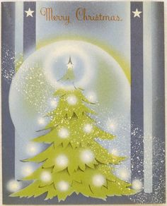 661 40s ART Deco Tree Vintage Christmas Greeting Card   eBay