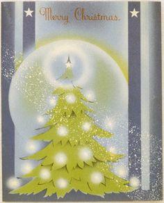 661 40s ART Deco Tree Vintage Christmas Greeting Card | eBay