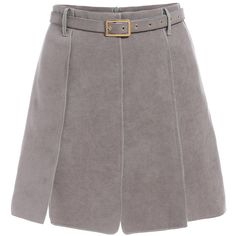 SheIn(sheinside) Grey Belt Suede Skirt (315 HNL) ❤ liked on Polyvore featuring skirts, bottoms, faldas, grey, a-line skirt, gray a line skirt, suede a line skirt, grey a line skirt and suede skirt
