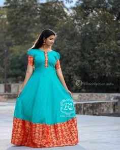 Stylish Ethnic Long Dress To Re-use Old Silk Sarees - Kurti Blouse Cotton Saree Blouse Designs, Half Saree Designs, Fancy Blouse Designs, Dress Designs, Long Gown Dress, Saree Dress, Anarkali Frock, Long Anarkali, Long Gowns