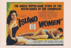 Store Home > - Island Women, B-Movie Poster Art Print Hot Beach, Beach Babe, Vince Edwards, Marie Windsor, Women Poster, Bearded Lady, Presents For Girls, Title Card, Surfs Up