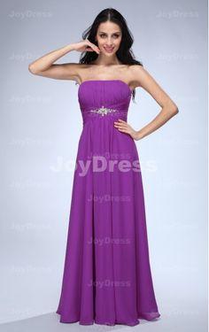 Crystal A-line Strapless Floor-length Dress