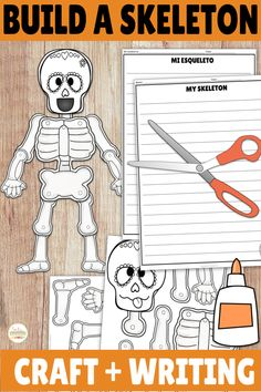 Check out this writing activity and build a skeleton craft for Day of the Dead! TEN different templates to choose from with a variety of sugar skulls or a plain skull and skeleton to provide choice to your students! This is perfect for Halloween or Día de los Muertos in your elementary, middle, or high school classroom! Seasonal and fun! Great for summarizing what they learned about Dia de Muertos or practicing body parts and descriptions! Middle School Spanish, Elementary Spanish, Spanish Class, Spanish 1, Spanish Teacher, Skeleton For Kids, Skeleton Craft, Class Activities, Writing Activities