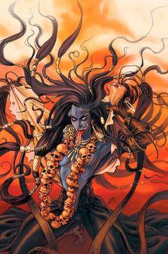 Indian Goddess Kali, Durga Goddess, Indian Gods, Rudra Shiva, Shiva Shakti, Shiva Art, Hindu Art, Buda Wallpaper, Goddess Of Destruction